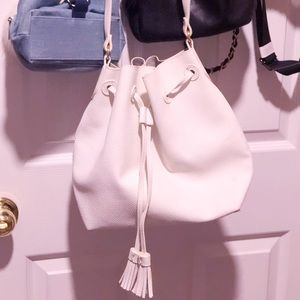 White faux leather satchel crossbody shoulder bag